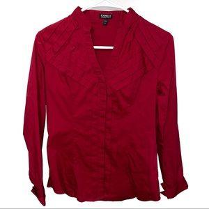 Express Essential Stretch Red Button Down Shirt